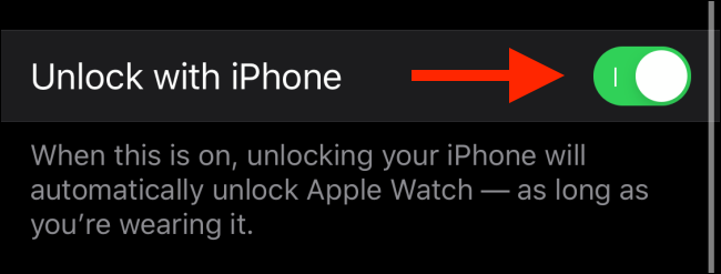 Tap the toggle next to Unlock with iPhone