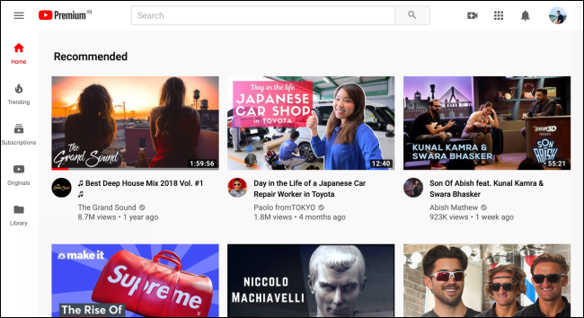 The newly redesigned home page for YouTube