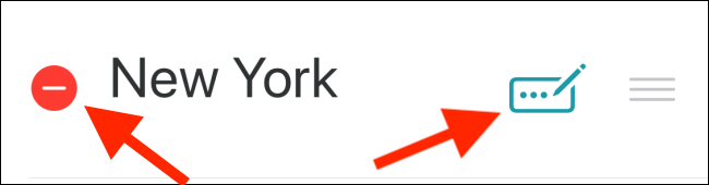 Tap the red dash (--) to delete a city or tap the Edit icon to rename a city.