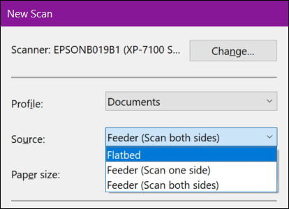 Windows Fax and Scan New Scan Source