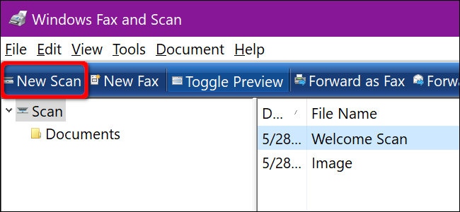 Windows Fax and Scan New Scan