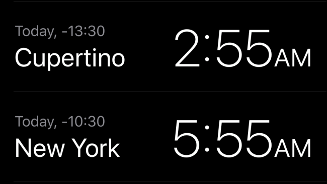 The local time in Cupertino and New York in the Clock app.