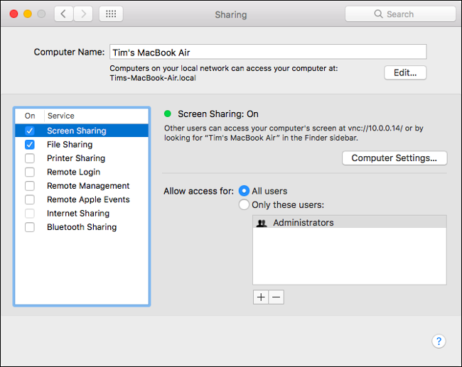 The Sharing menu on a MacBook Air.