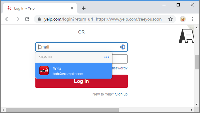 Signing into the Yelp website with 1Password X in Google Chrome.