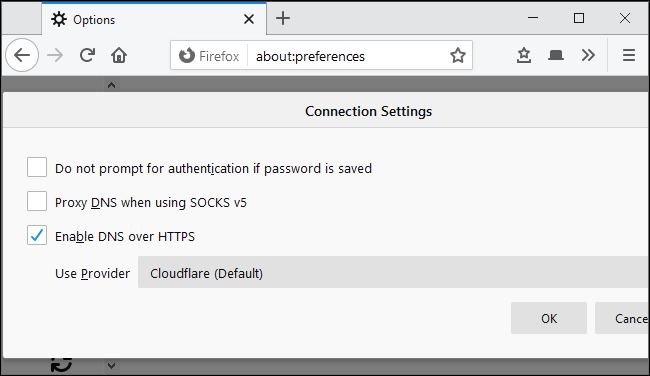 Enabling DNS over HTTPS in Mozilla Firefox's network settings.