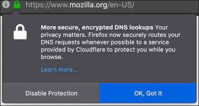 Firefox encrypted DNS lookups by Cloudflare alert.