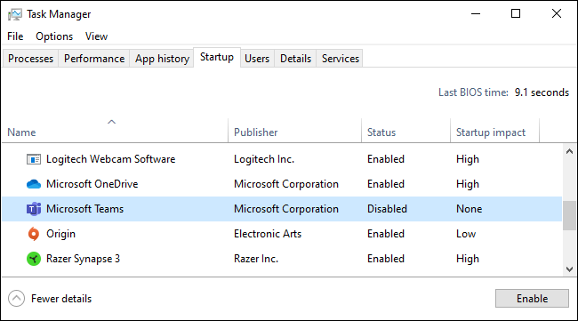 Stopping Microsoft Teams from automatically starting in the Task Manager.