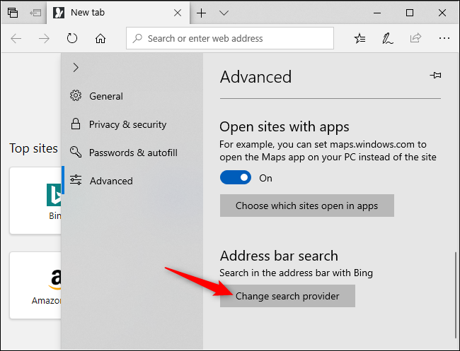 Changing the default search engine in Microsoft Edge.