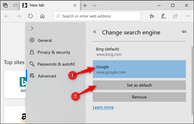 Selecting Google as Edge's default search engine.