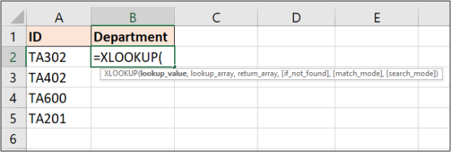 Information required by the XLOOKUP function