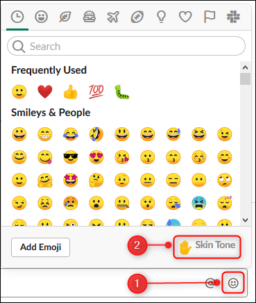 """The emoji panel with the """"Skin Tone"""" option highlighted"""