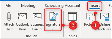 Choosing Insert > Signature on Outlook's Ribbon