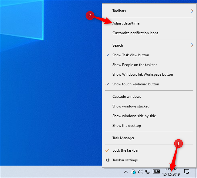 Opening time settings from Windows 10's taskbar.