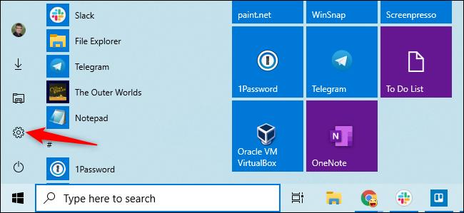 Opening Settings from Windows 10's Start menu