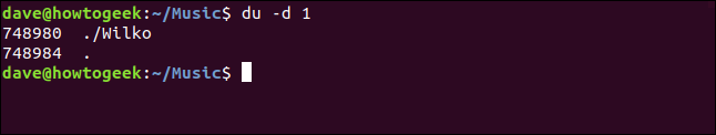 """The """"du -d 1"""" command in a terminal window."""