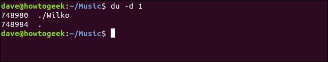 """El comando """"du -d 1"""" en una ventana de terminal."""