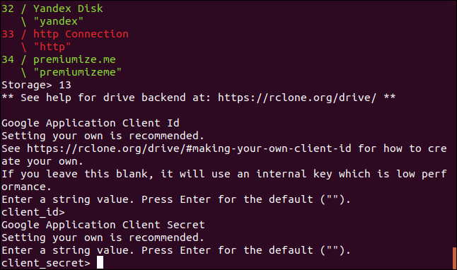 prompt for a Google application client secret in a terminal window