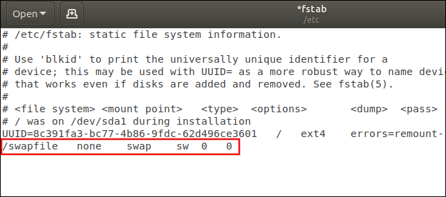 /etc/fstab with the swapfile entry highlighted
