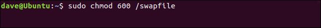 sudo chmod 600 /swapfile in a terminal window
