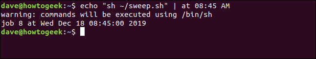 "An ""echo ""sh ~/sweep.sh"" | at 08:45 AM"" command in a terminal window."