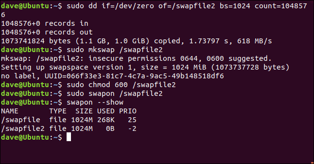 sudo dd if=/dev/zero /of=/swapfile2 bs=1024 count=104857 in a terminal window