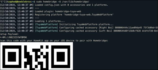 Código QR en la terminal