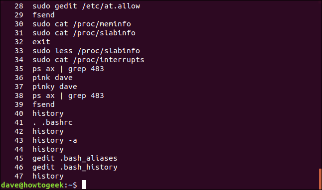 "An example of output from the ""history"" command in a terminal window."