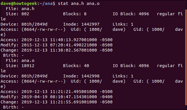 stat ana.h ana.o in a terminal window