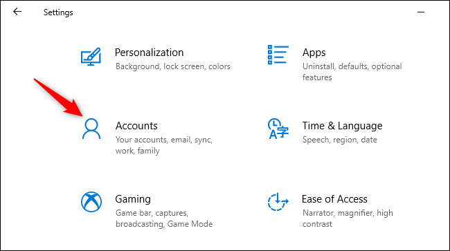 Opening Accounts in Windows 10's Settings app.