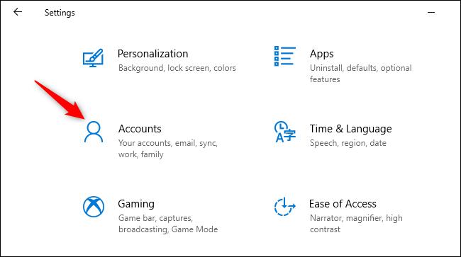 Opening Accounts in Windows 10's Settings app.