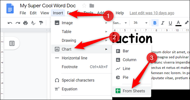 "Click ""Insert,"" click ""Chart,"" and then select ""From Sheets."""