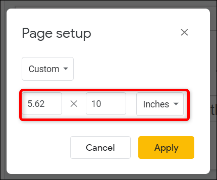 Swap the numbers in the text fields to rotate the slide into vertical position.