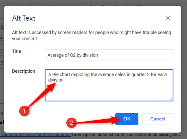 """Enter a description of the object in 1-2 sentences for anyone who might have trouble seeing your content. Click """"OK"""" when done."""