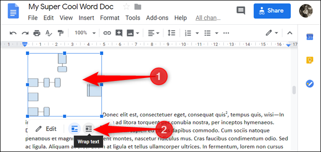 Select the object, and then click the Wrap Text icon.
