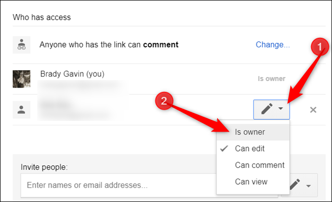 """Click the dropdown menu next to their name and click on """"Is owner"""" from the list provided."""