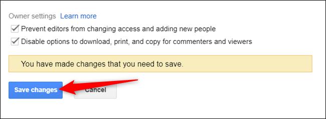 """Haga clic en """"Guardar cambios"""" para actualizar los permisos del archivo."""