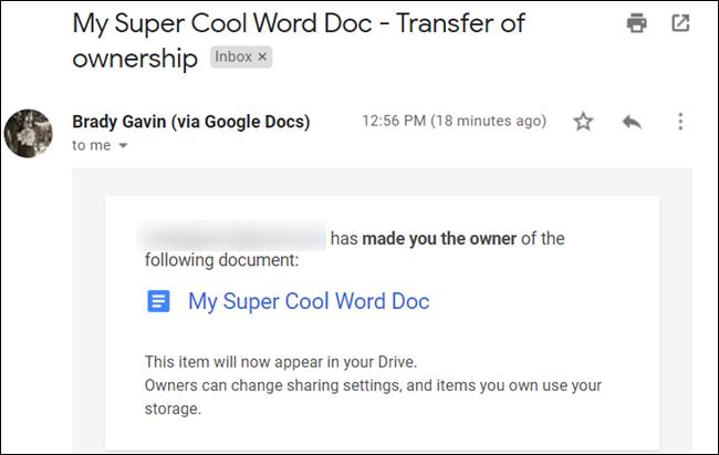 Se envía a su bandeja de entrada un correo electrónico que notifica al nuevo propietario de sus nuevas responsabilidades.