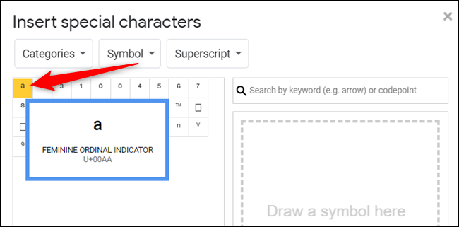 Click on a symbol to insert it into your document.
