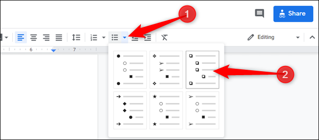 Click on the down arrow next to the Bullet List icon and choose the checkbox option.