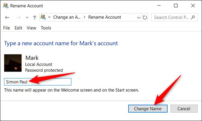 """Escribe un nombre nuevo y haz clic en """"Cambiar nombre""""."""