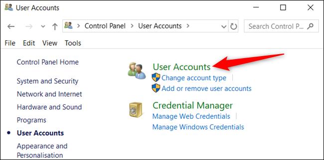 """Haga clic en """"Cuentas de usuario"""" una vez más."""