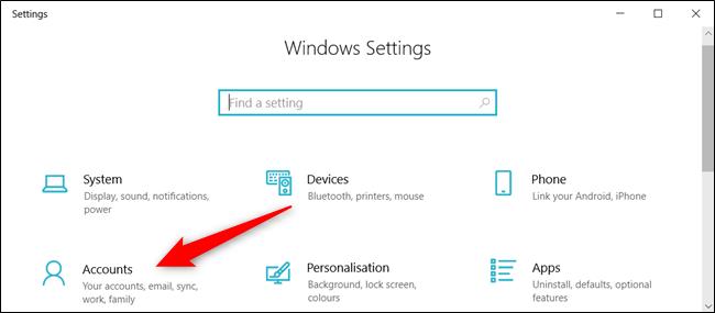 """Abra la aplicación Configuración y haga clic en """"Cuentas""""."""