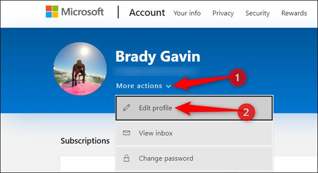 """Haga clic en """"Más acciones"""" y haga clic en """"Editar perfil"""" de la lista a continuación."""