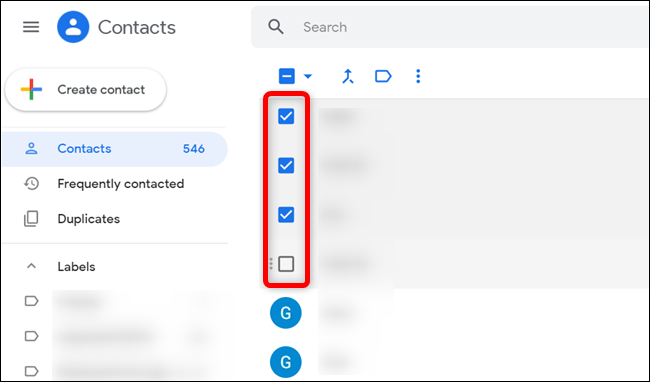 Hover over a contact and click on the checkbox to select it.