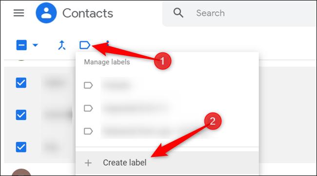 """Haga clic en el icono de etiqueta azul y luego haga clic en """"Crear etiqueta"""" para crear un nuevo grupo."""