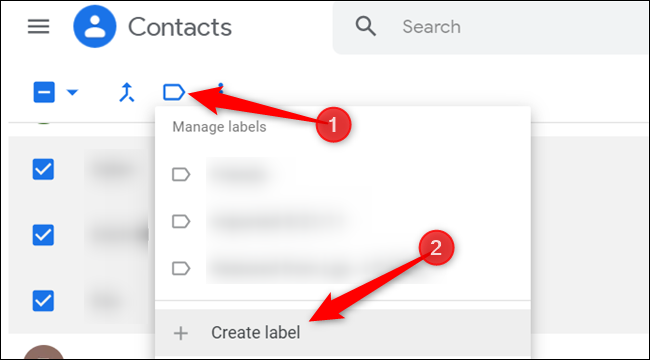 """Click the blue label icon, and then click """"Create label"""" to create a new group."""