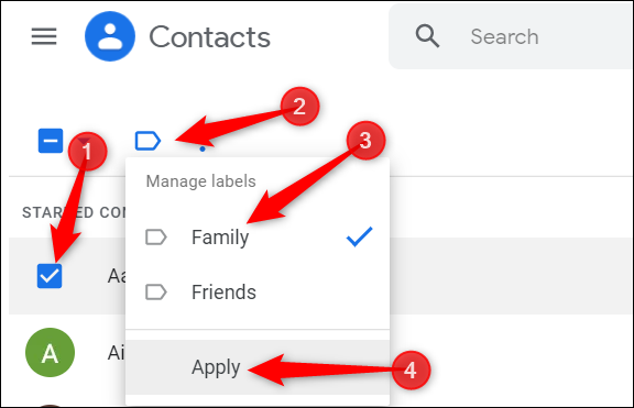 """Add contacts to an existing group. Click the contact, click the blue label icon, select the group, and then click """"Apply"""" to add it to the group."""