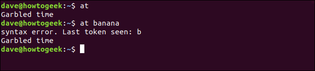 """An incorrect use of the """"at"""" command in a terminal window."""