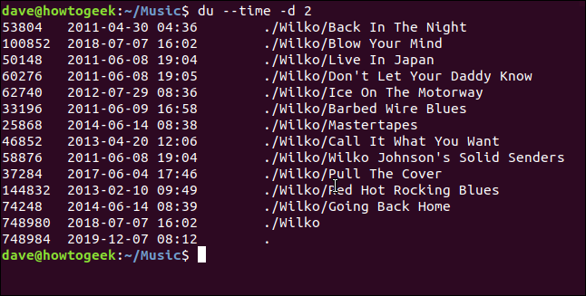 """The """"du --time -d 2"""" command in a terminal window."""