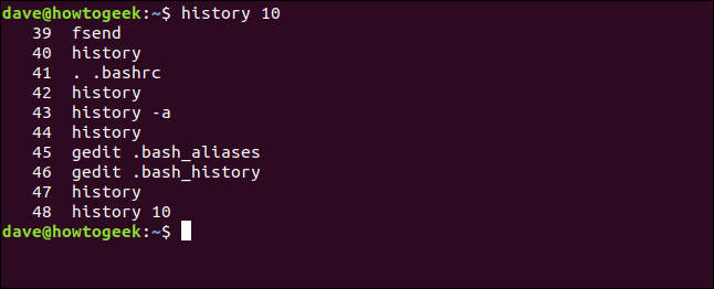 "The ""history 10"" command in a terminal window."